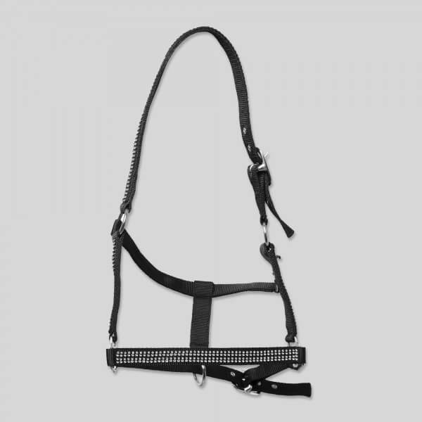 "Halter-Set ""DIAMOND"" with rope, black"