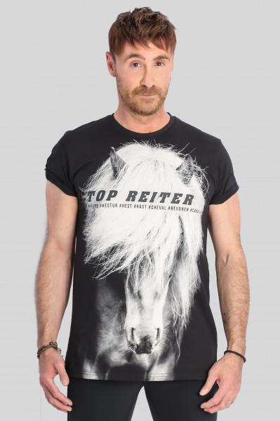 """T-Shirt """"HESTUR"""", schwarz"""